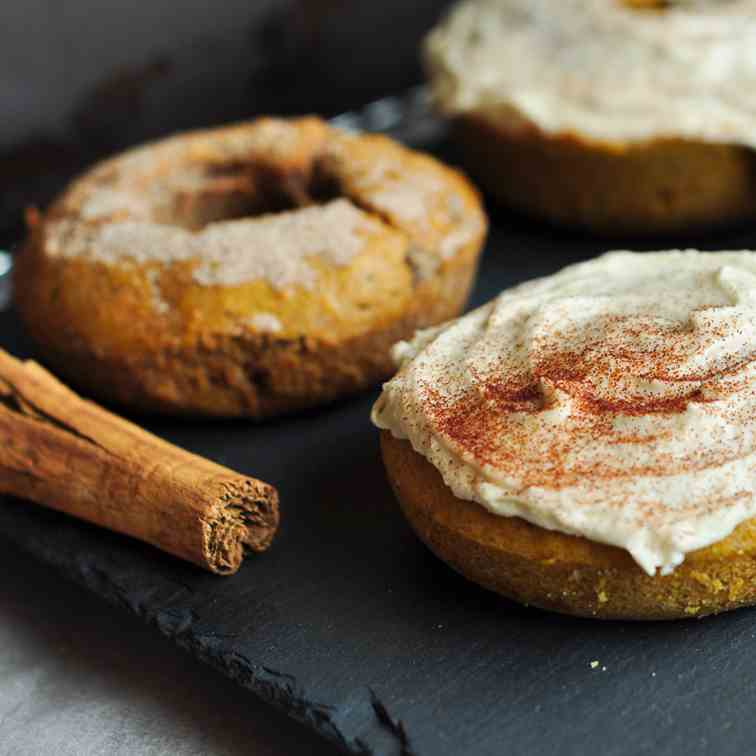 Coffee Glaze Pumpkin Doughnuts
