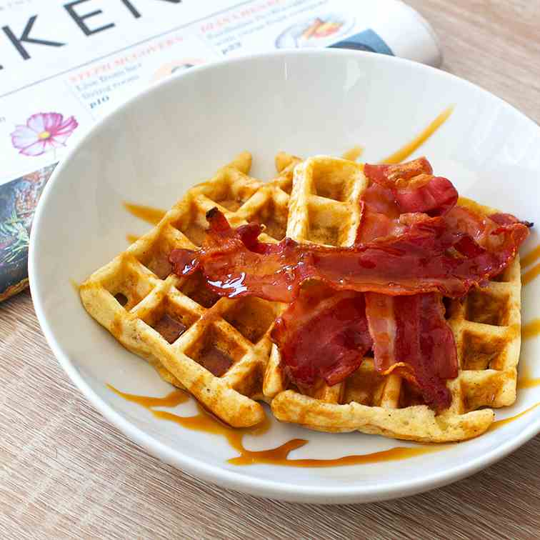 Breakfast Waffles with Bacon and Syrup