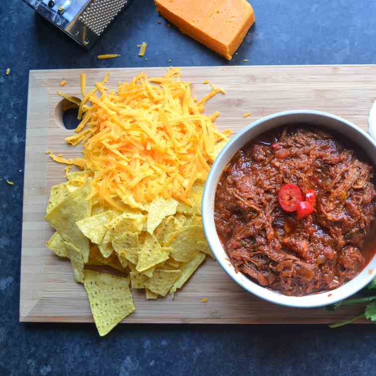 Chilli Beef with Cheese - Nachos