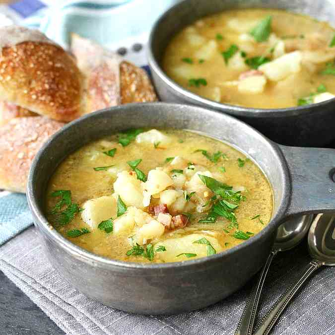 Potato Soup with Fried Almonds