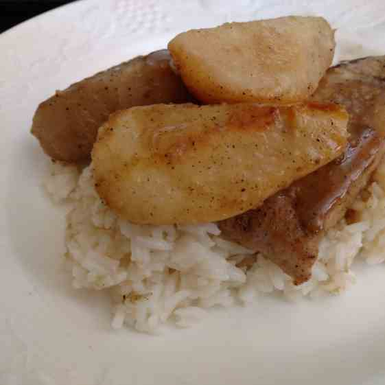 Apple Cider Pork With Pears, and Rice