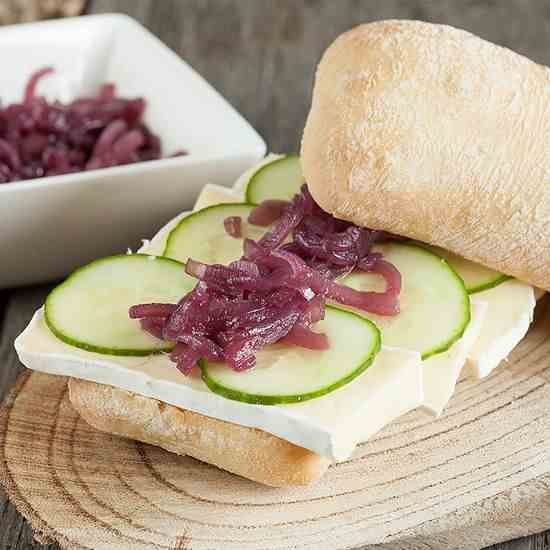 Red onion compote and brie sandwich
