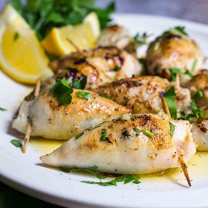 Stuffed calamari in lemon butter sauce