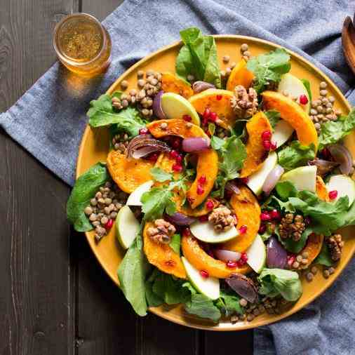 Butternut squash salad with walnut dressin