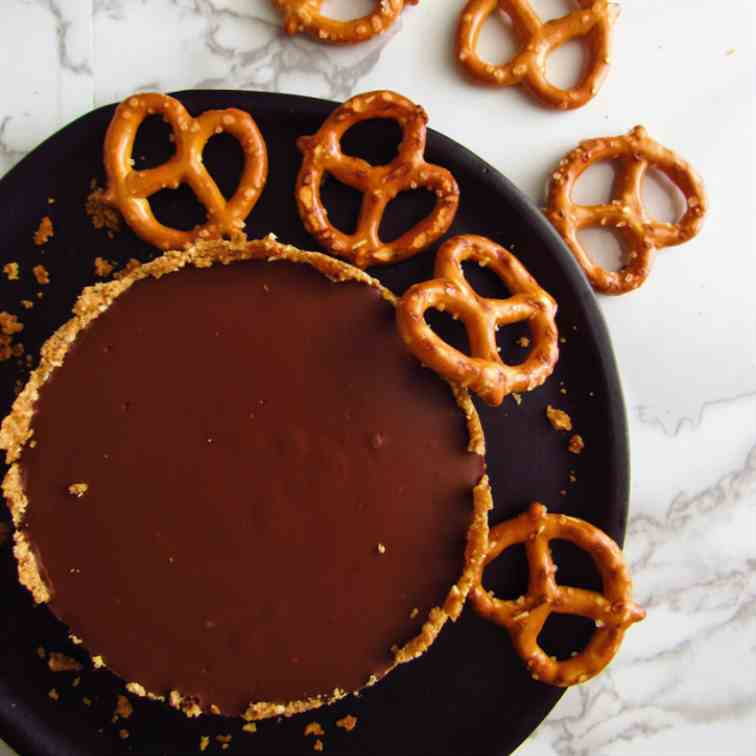 Pretzel Crusted Dark Chocolate Tart