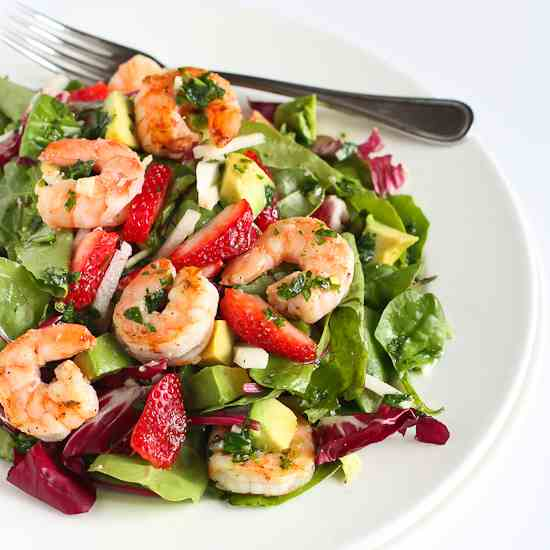 Seared Shrimp Salad with Jicama