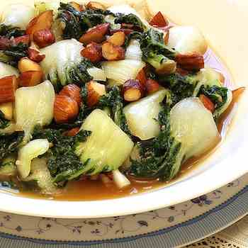 Stir fry baby bok choy with almond