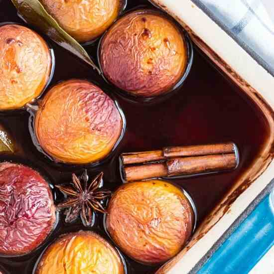 Oven Roasted Nectarines in Red Wine