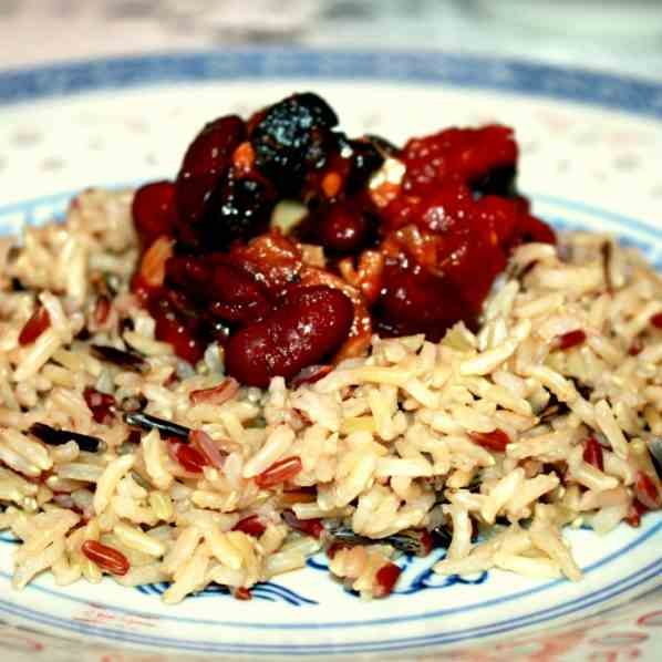 Wild Rice with kidney beans and mushrooms