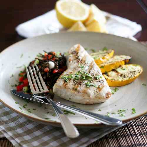 Grilled Blue Marlin Steak and Wild Rice Sa