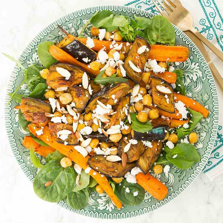 Harissa eggplant and carrot salad