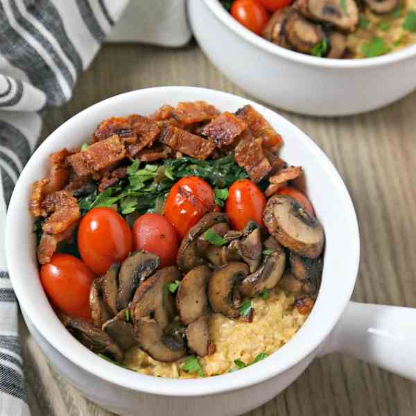 Savory Oatmeal w- Bacon Spinach - Tomatoes