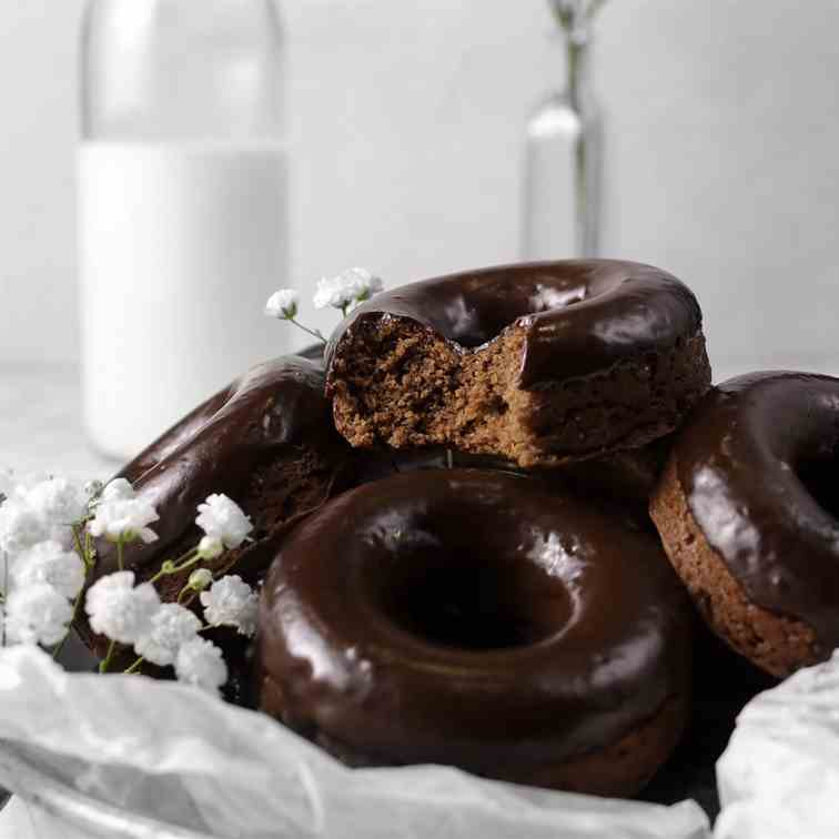 Double Dark Chocolate Baked Donuts