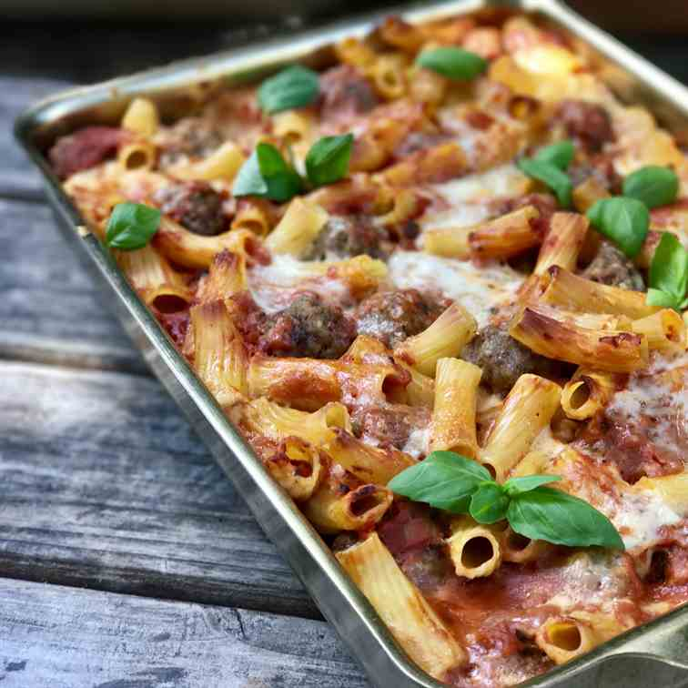 No-Boil Baked Ziti With Bison Meatballs