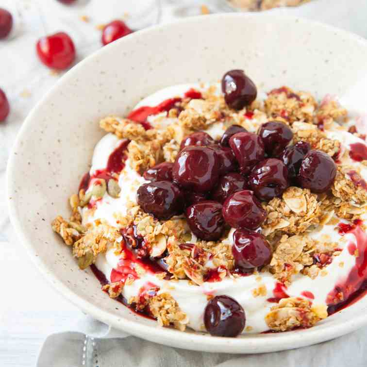 Roasted Cherry Greek Yogurt Bowl