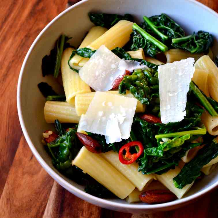 Cavolo Nero with Pasta and Almonds