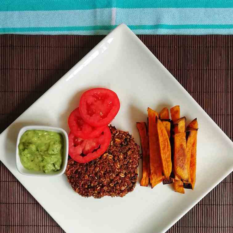 Vegan Black Bean Burger with Avocado Herb