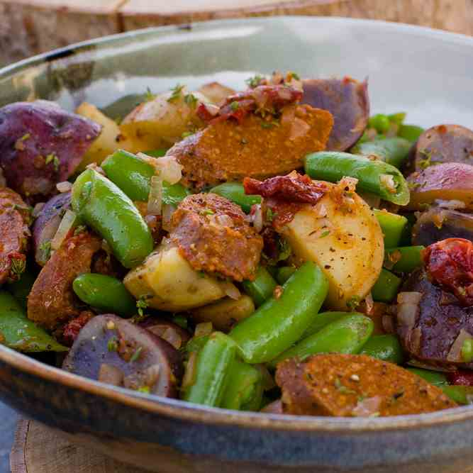 Spicy Sausage, Baby Potatoes, and Snap Pea