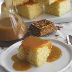 Vanilla Golden Cake with Brown Sugar Sauce