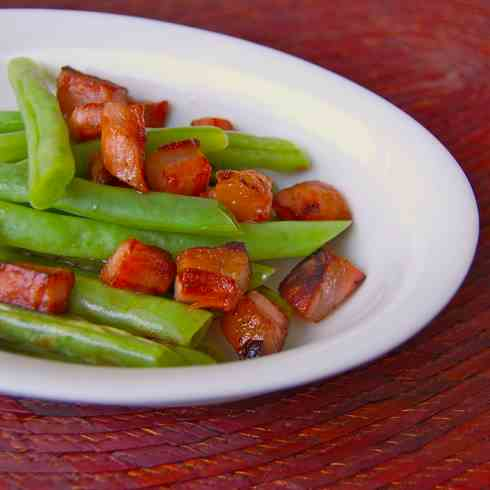 Green beans with pancetta