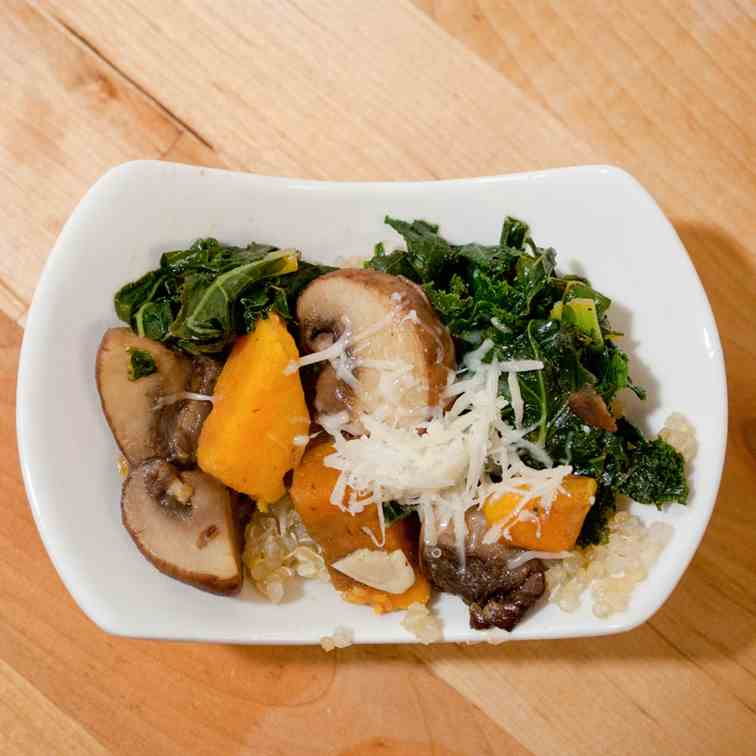 Quinoa with mushrooms kale & sweet potato