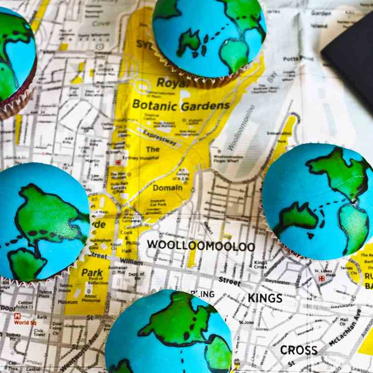 World Traveller Map Cupcakes