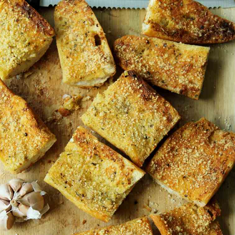 Garlic squares from store -bought baguette