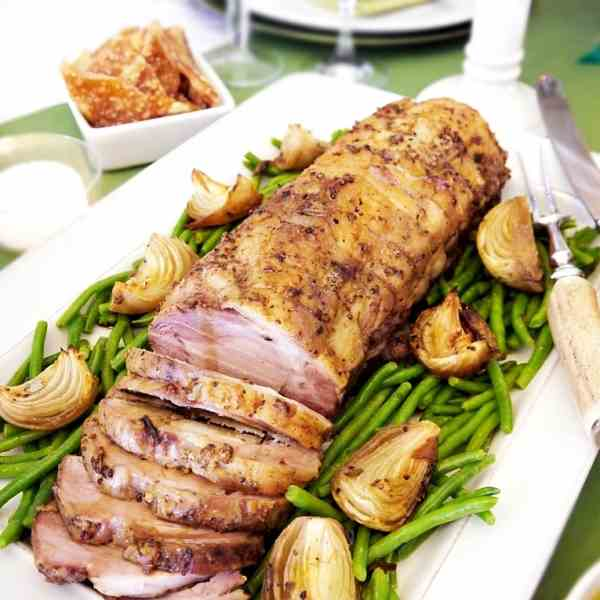 Roast Pork with Herbs - Mustard Crust Reci