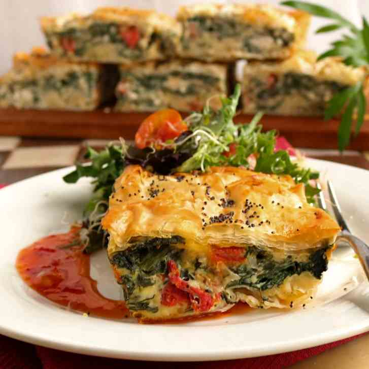 Spinach, Feta - Sun Dried Tomato, Filo Pie
