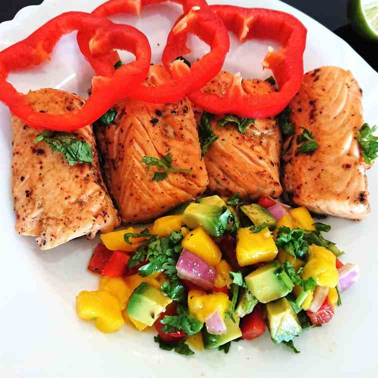 pan-seared salmon with mango avocado salsa