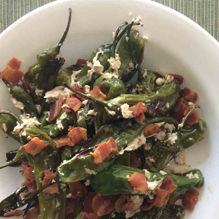 Shishito Peppers with Cream Cheese - Bacon