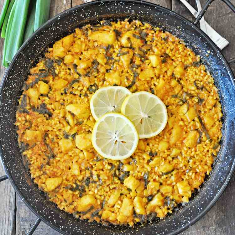 Spanish Paella with Cod and Scallions