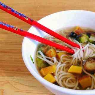 Roasted Squash and Ginger Noodle Soup
