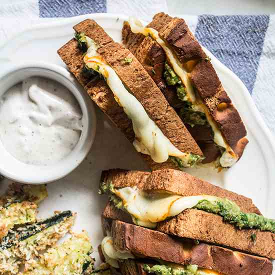 Easy Spinach Pesto Grilled Cheese