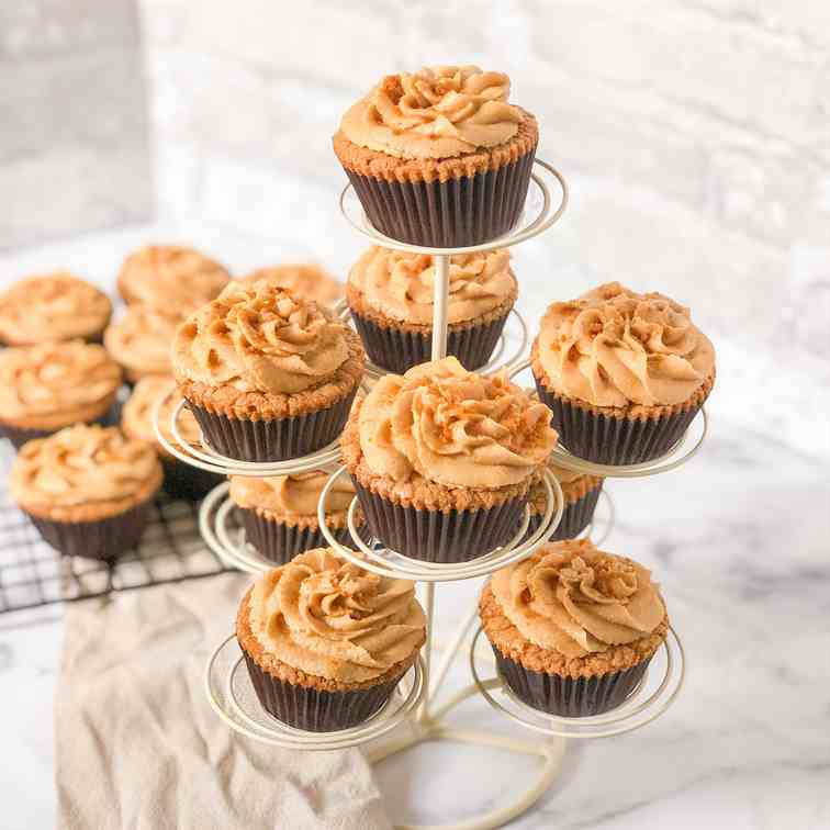 Lotus Cupcakes with Espresso Buttercream