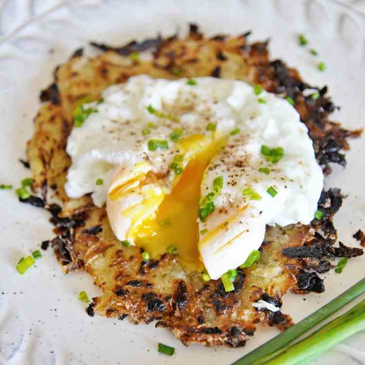 Crispy Hash Browns and Poached Eggs