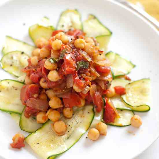Zucchini Noodles with Arrabiata Chickpeas