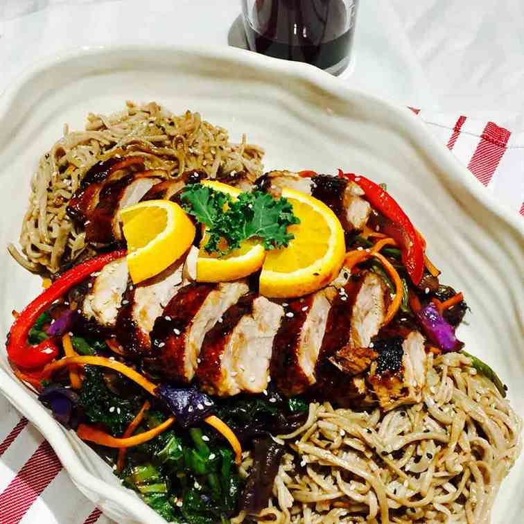 Duck on soba buckwheat noodles