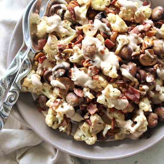 Roasted Mushroom Cauliflower Bacon Salad