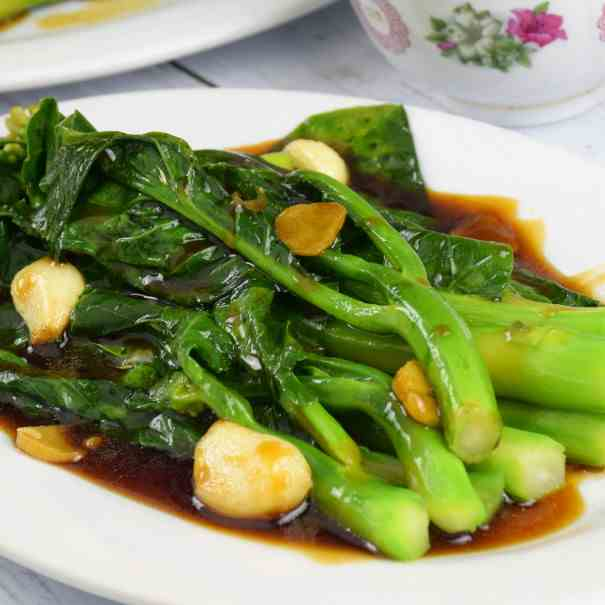Blanch or stir-fry Chinese broccoli