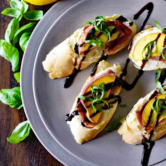 Honey Ricotta and Peach Bruschetta