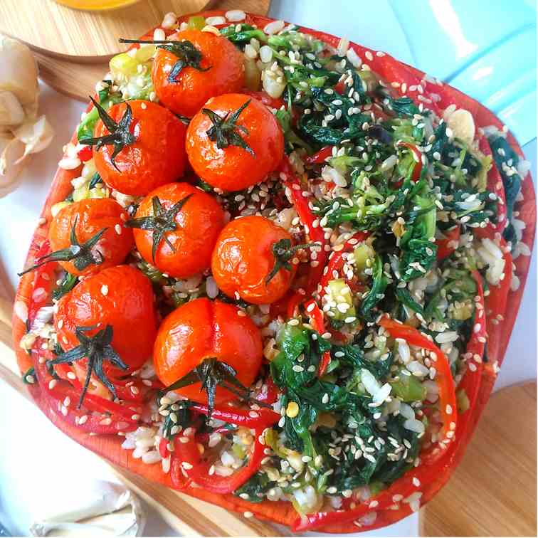 Sauteed Spinach with Roasted Tomatoes