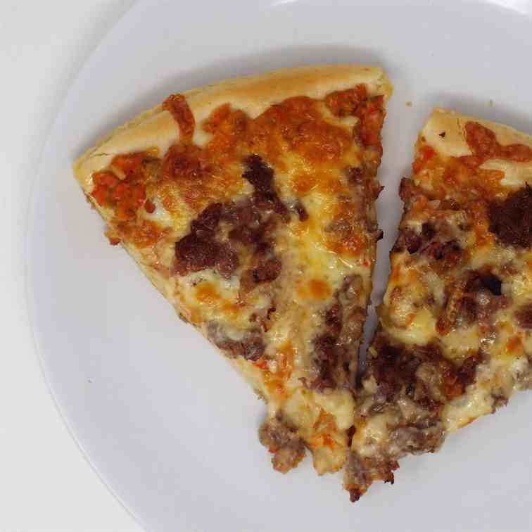 Cheesesteak and Hot Pepper Relish Pizza
