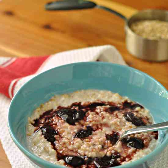 Creamy Steel Cut Oats with Cherries