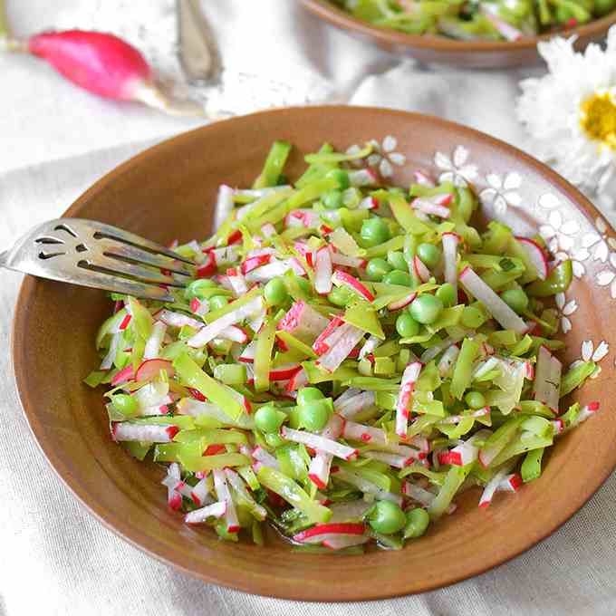 Julienned Show Pea and Radish Salad