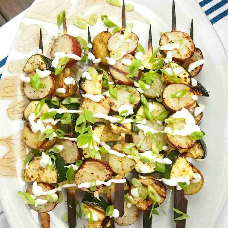 Grilled Potato Salad Skewers with Zucchini