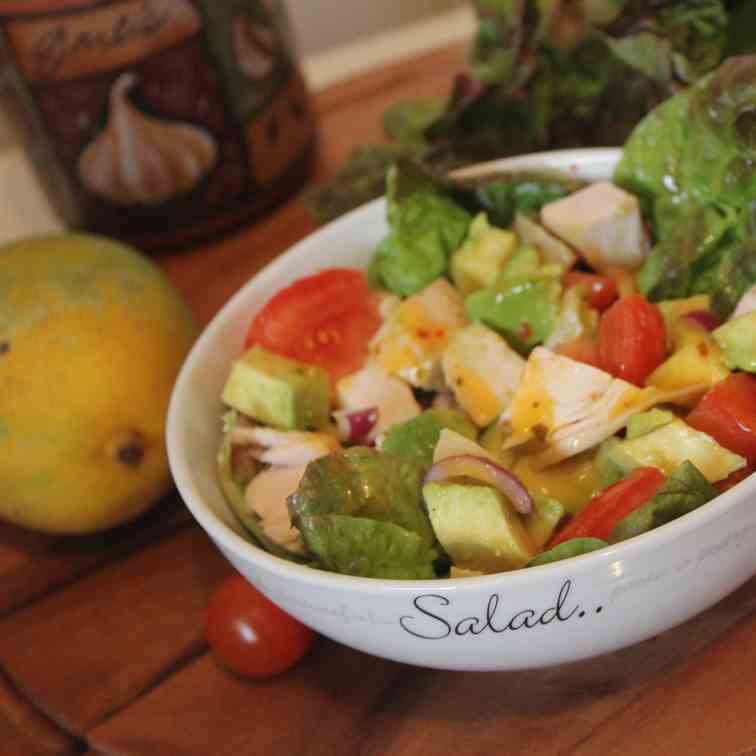 Chicken and Avocado salad with mango dress
