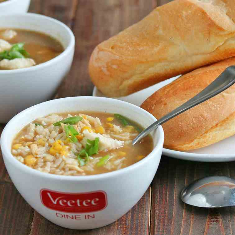 Asian Style Chicken - Corn Soup with Rice