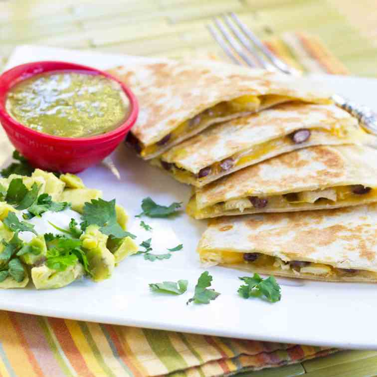 Tomatillo Chicken Black Bean Quesadilla