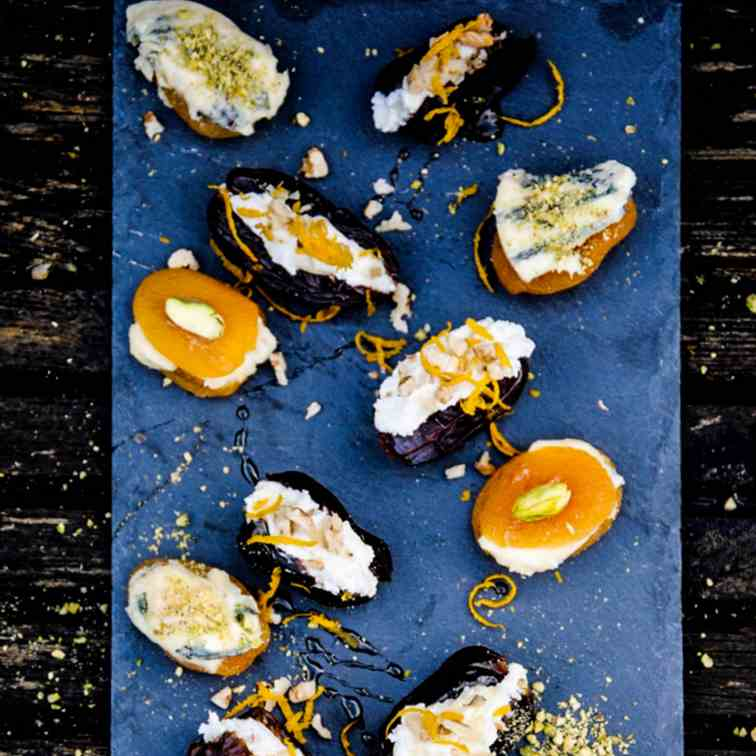 Goats cheese stuffed dates and blue cheese